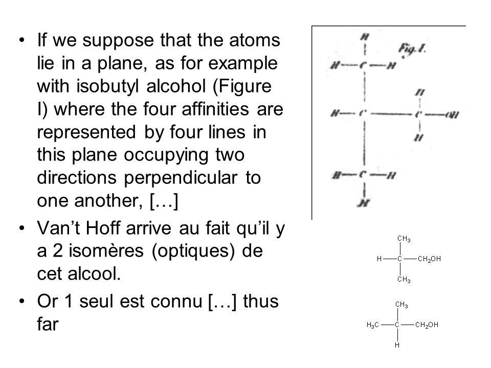 If we suppose that the atoms lie in a plane, as for example with isobutyl alcohol (Figure I) where the four affinities are represented by four lines in this plane occupying two directions perpendicular to one another, […]